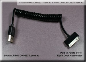 USB to iPod Style 30 pin Dock Connector Curly Cord