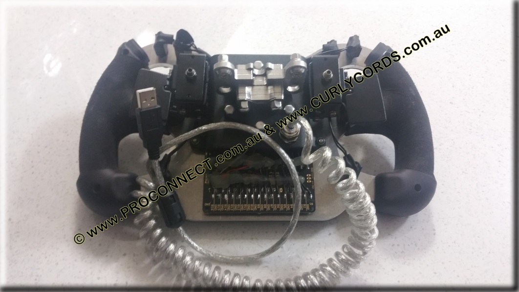 USB Curly Cord on Racecar Sim Steering Wheel 2a