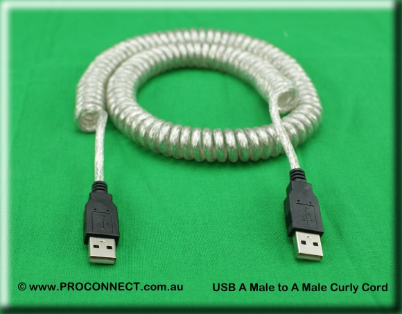 USB A Male to a Male Curly Cord