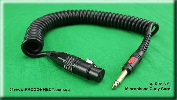 "Microphone Curly Cord XLR to 6.5 1/4"" Jack"