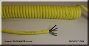 PRO-5G4YLPURa Yellow Polyurethane Curly Cord
