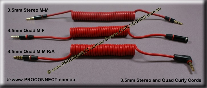 3.5mm male to male and female curly cords