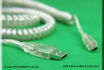 USB AM to Mini B 5m Curly Cord